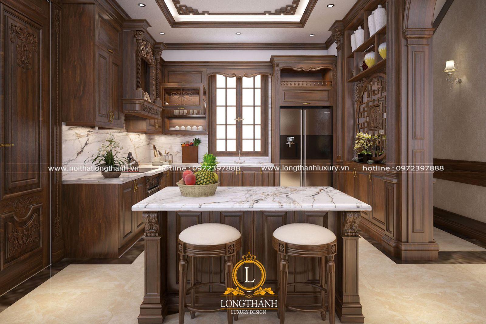Thiết kế phòng bếp tân cổ điển ấm áp