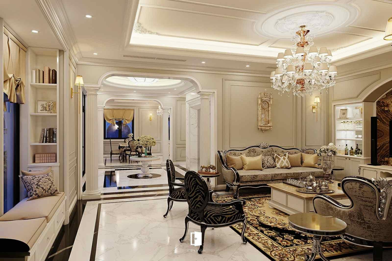 Thiết kế phòng khách biệt thự theo kiểu tân cổ điển đẹp nhất Thái Lan