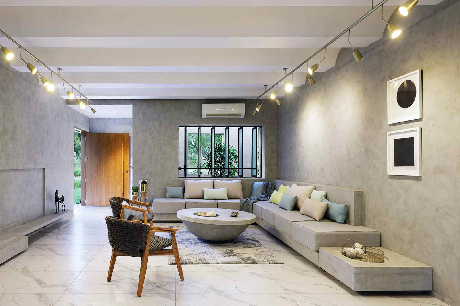 Thiết kế phòng khách biệt thự tối giản ở các nước khu vực Đông Nam Á