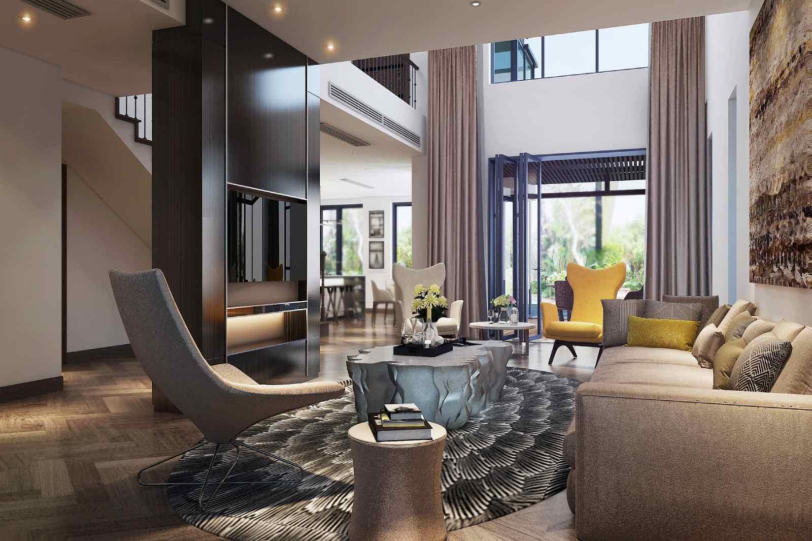 Thiết kế phòng khách hiện đại dành cho nhà biệt thự cao cấp