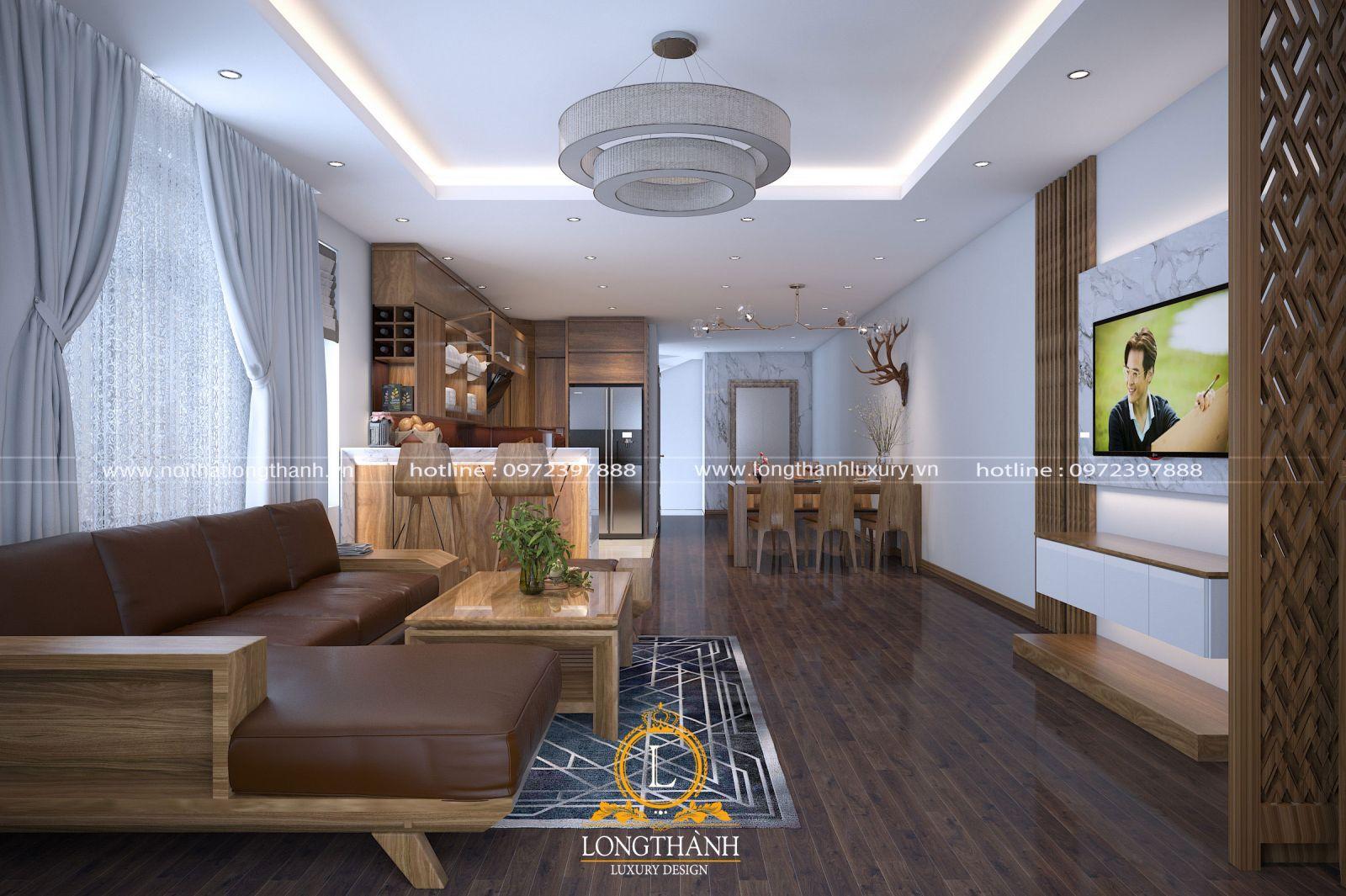 Thiết kế phòng khách hiện đại kết hợp bếp ăn cho nhà chung cư