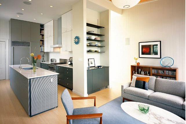 Thiết kế phong khách hiện địa liền kề bếp ăn cho nhà chung cư