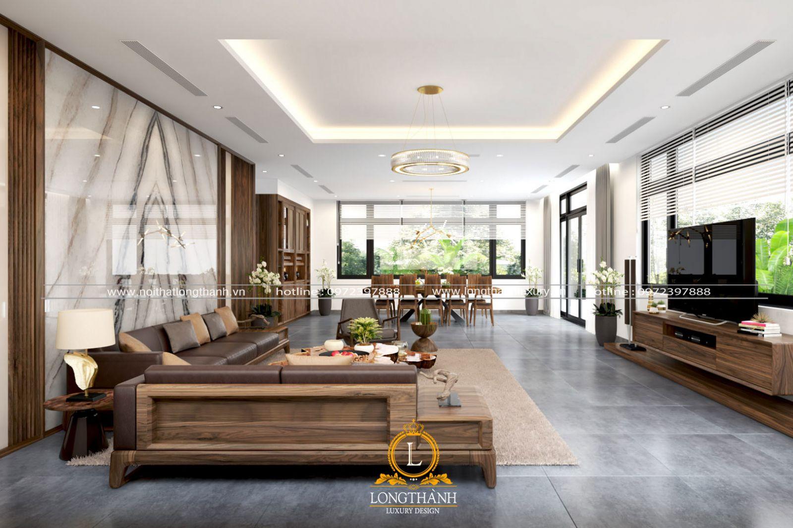 Không gian phòng khách nhà biệt thự tận dụng tối đa nguồn ánh sáng tự nhiên