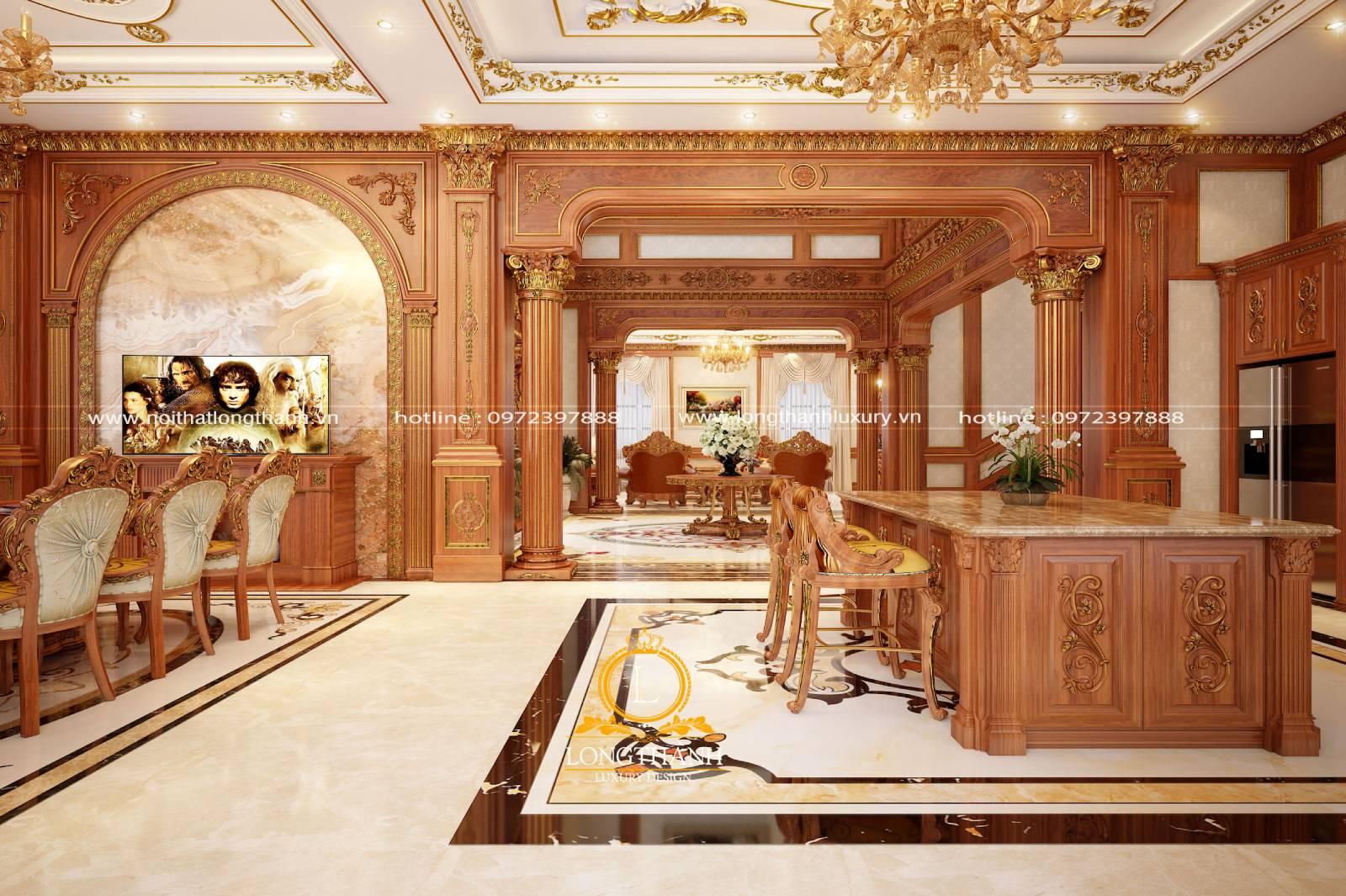 Thiết kế phòng khách liền phòng ăn cho nhà biệt thự rộng
