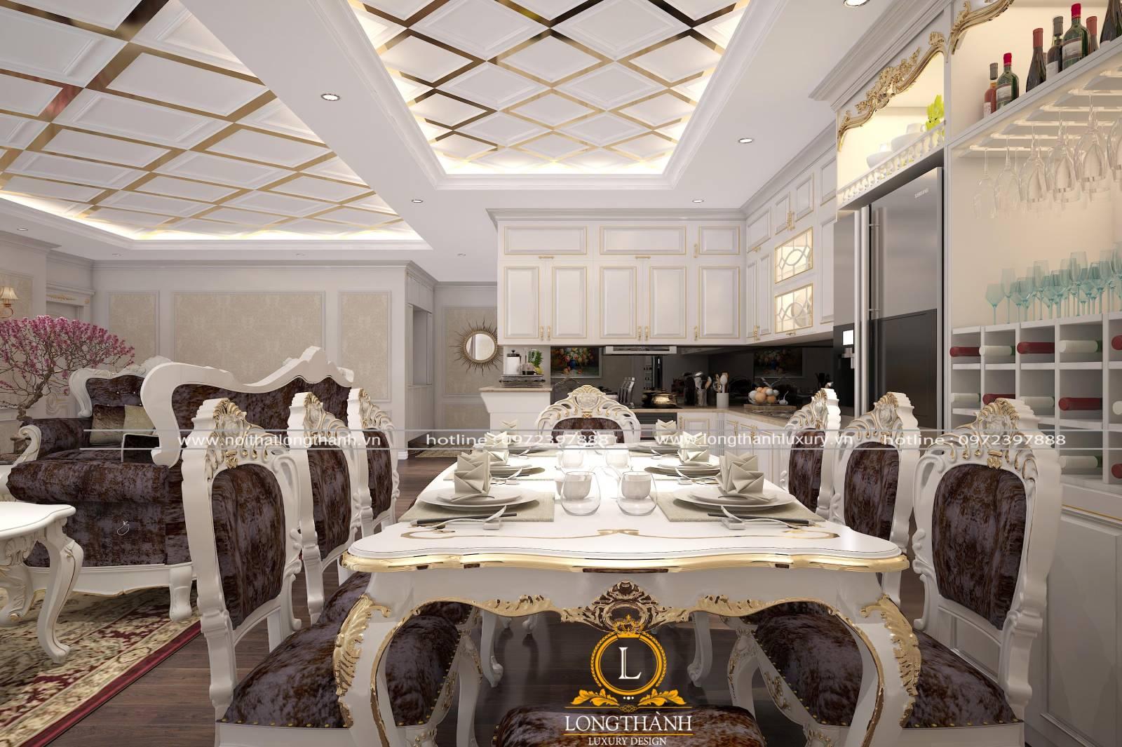 Mẫu phòng khách liền phòng ăn thiết kế theo phong cách tân cổ điển màu trắng