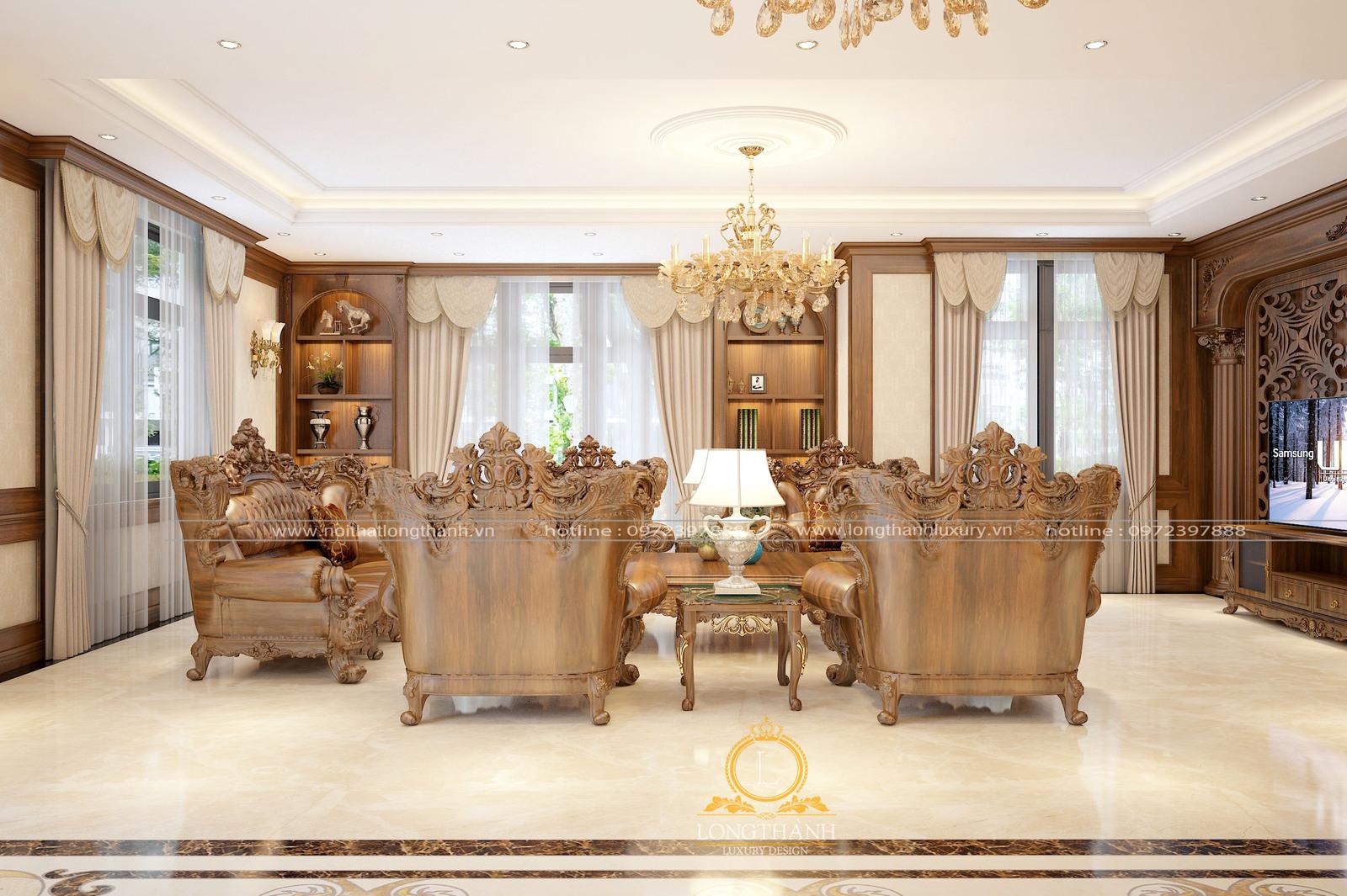 mẫu thiết kế nội thất phòng khách nhà biệt thự LT01