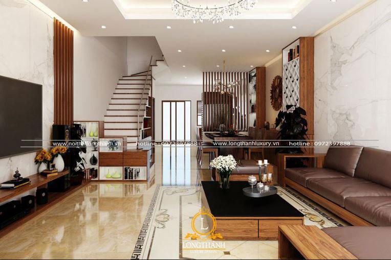 Thiết kế phòng khách hiện đại liền bếp tiện nghi