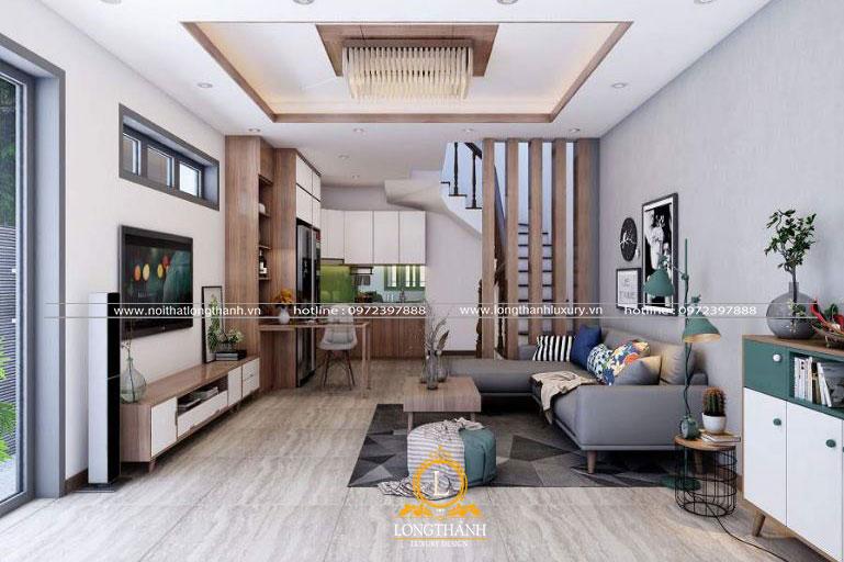 Thiết kế phòng khách nhà phố hiện đại với gỗ tự nhiên