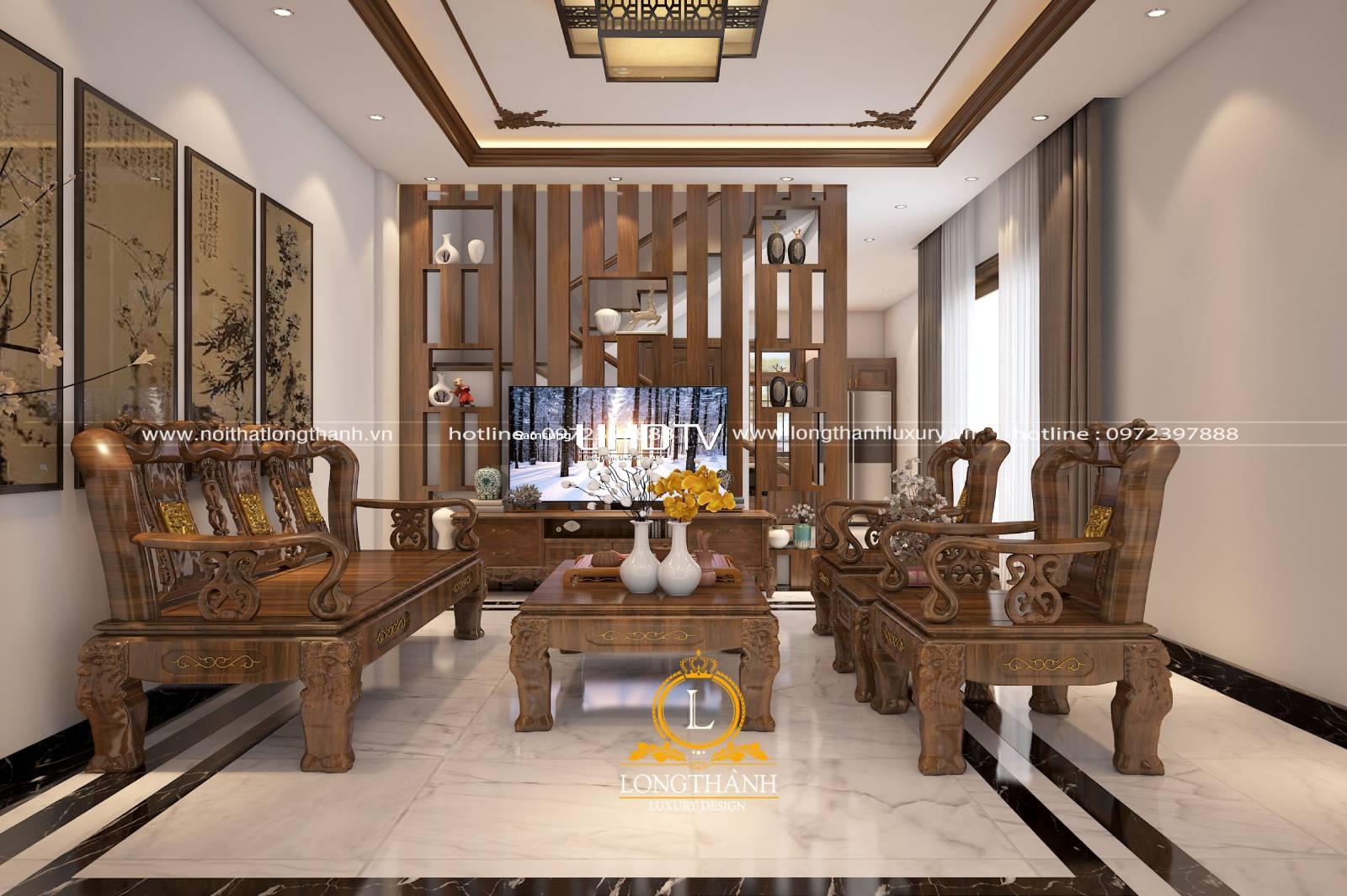 Mẫu phòng khách nhà phố được thiết kế theo đơn giản sử dụng gỗ tự nhiên