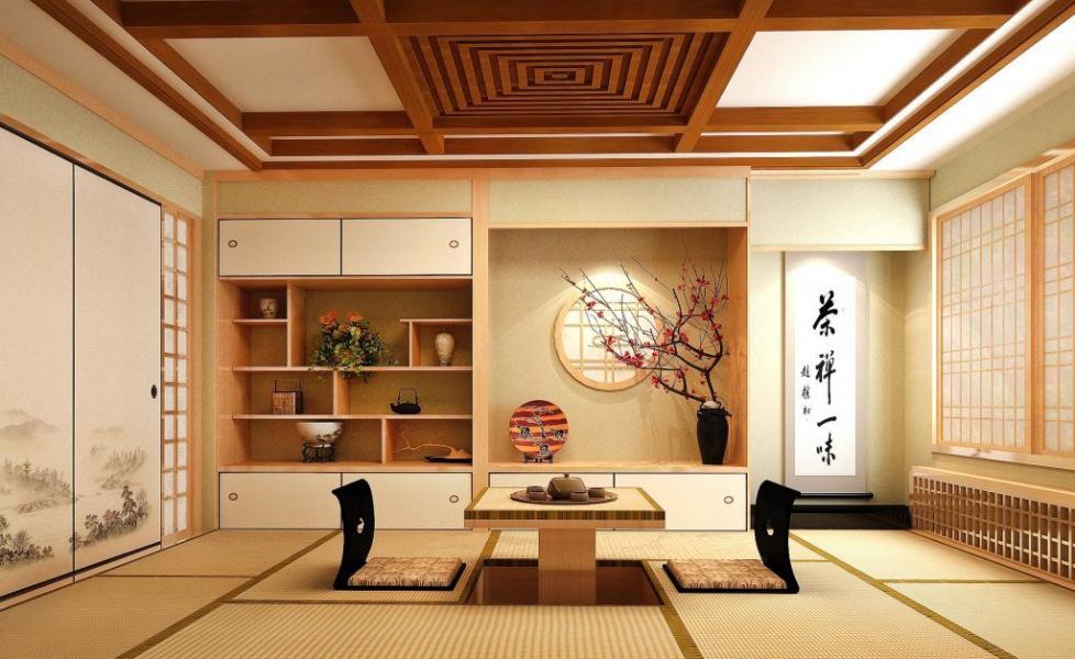 Thiết kế phòng khách kiểu Nhật đơn giản mà tiện lợi