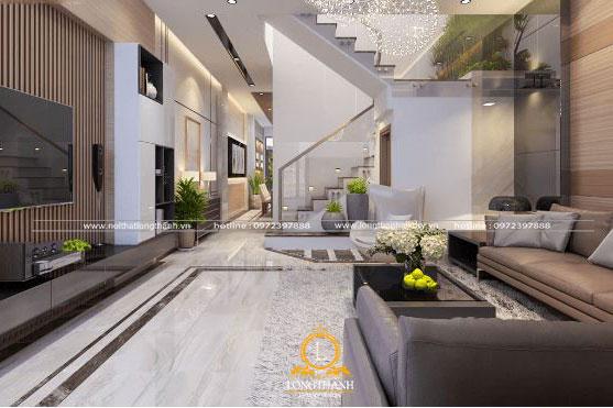 Thiết kế phòng khách sang trọng hiện đại cho không gian rộng