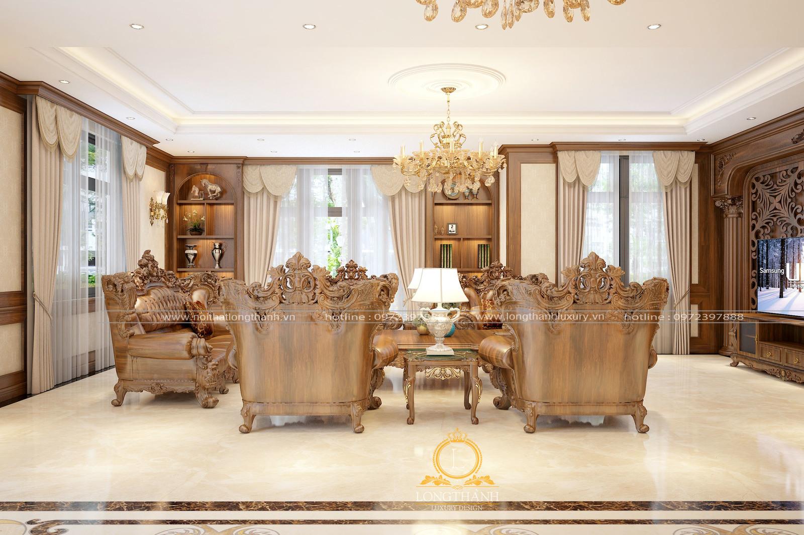 Bộ sofa tân cổ điển cho phòng khách biệt thự thêm sang trọng