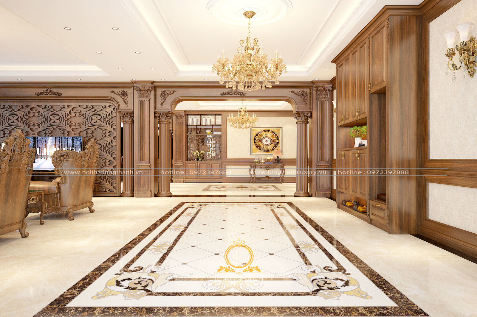 Thiết kế phòng khách tân cổ điển cho biệt thự