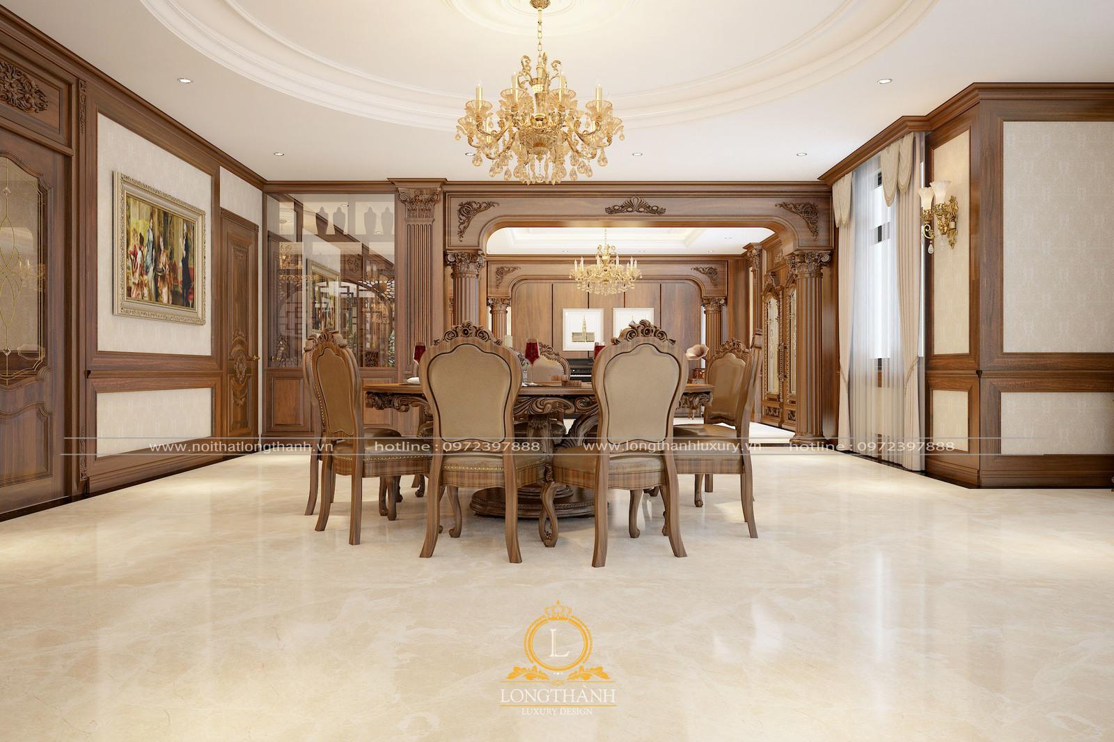 Thiết kế tân cổ điển với phòng ăn liên thông phòng khách