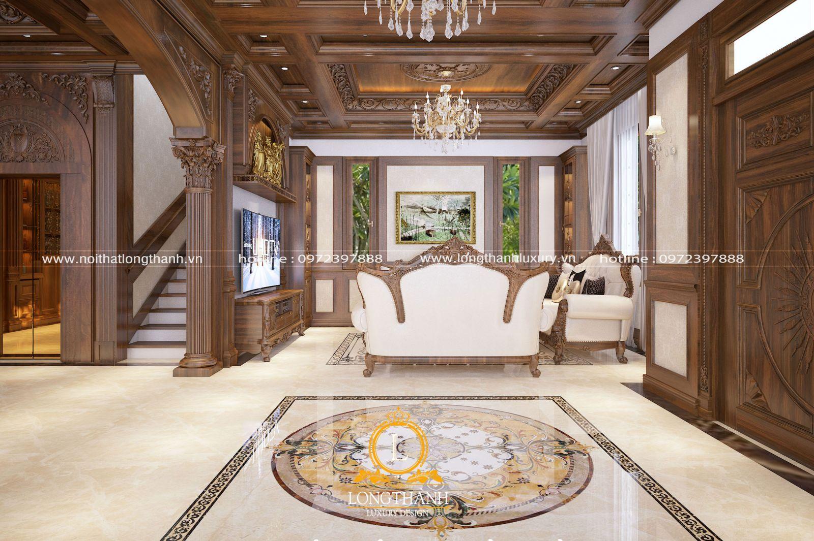 Thiết kế phòng khách tân cổ điển đẹp cho nhà biệt thự