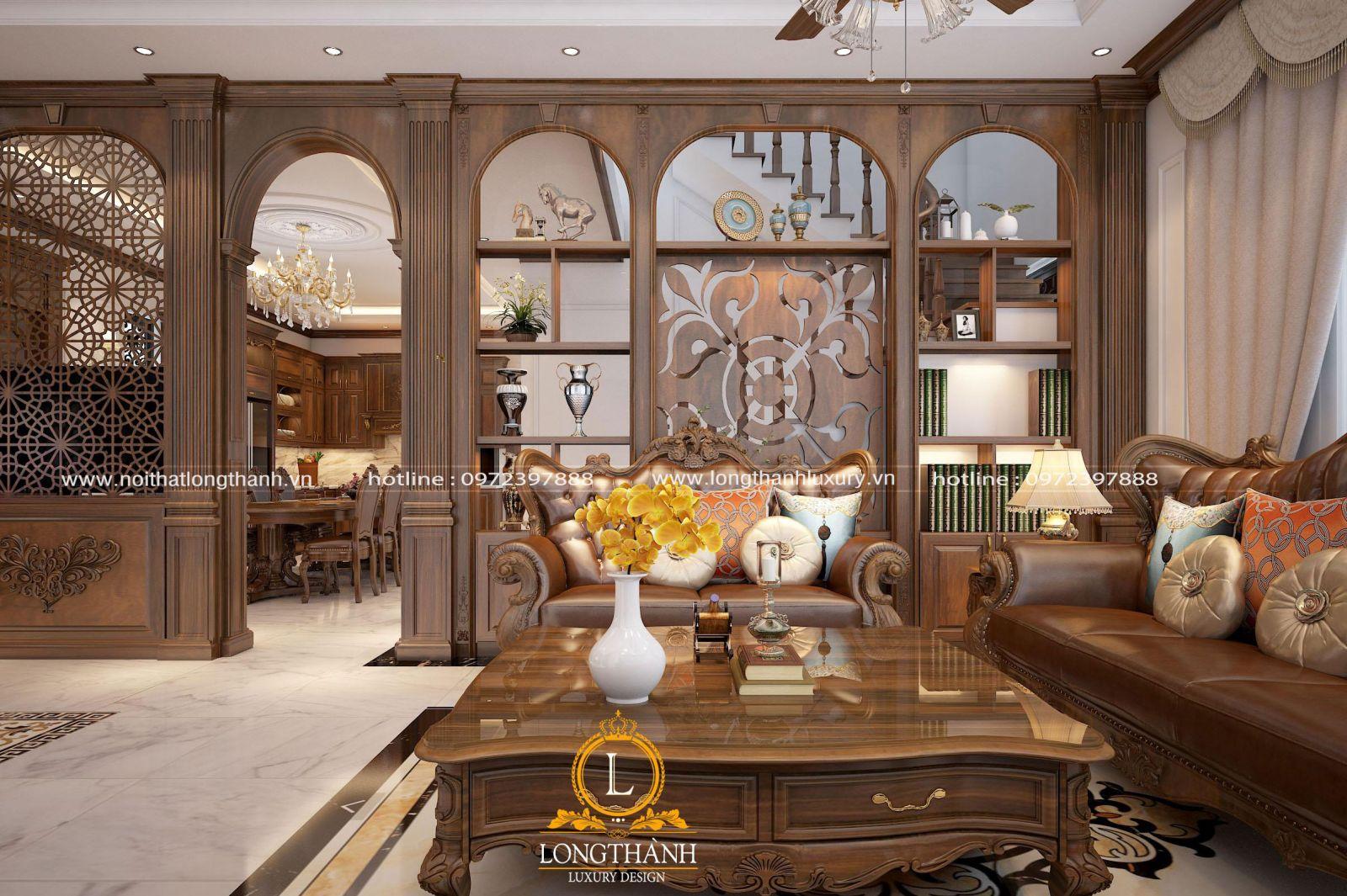 Thiết kế phòng khách tân cổ điển với vách ngăn gỗ tinh tế