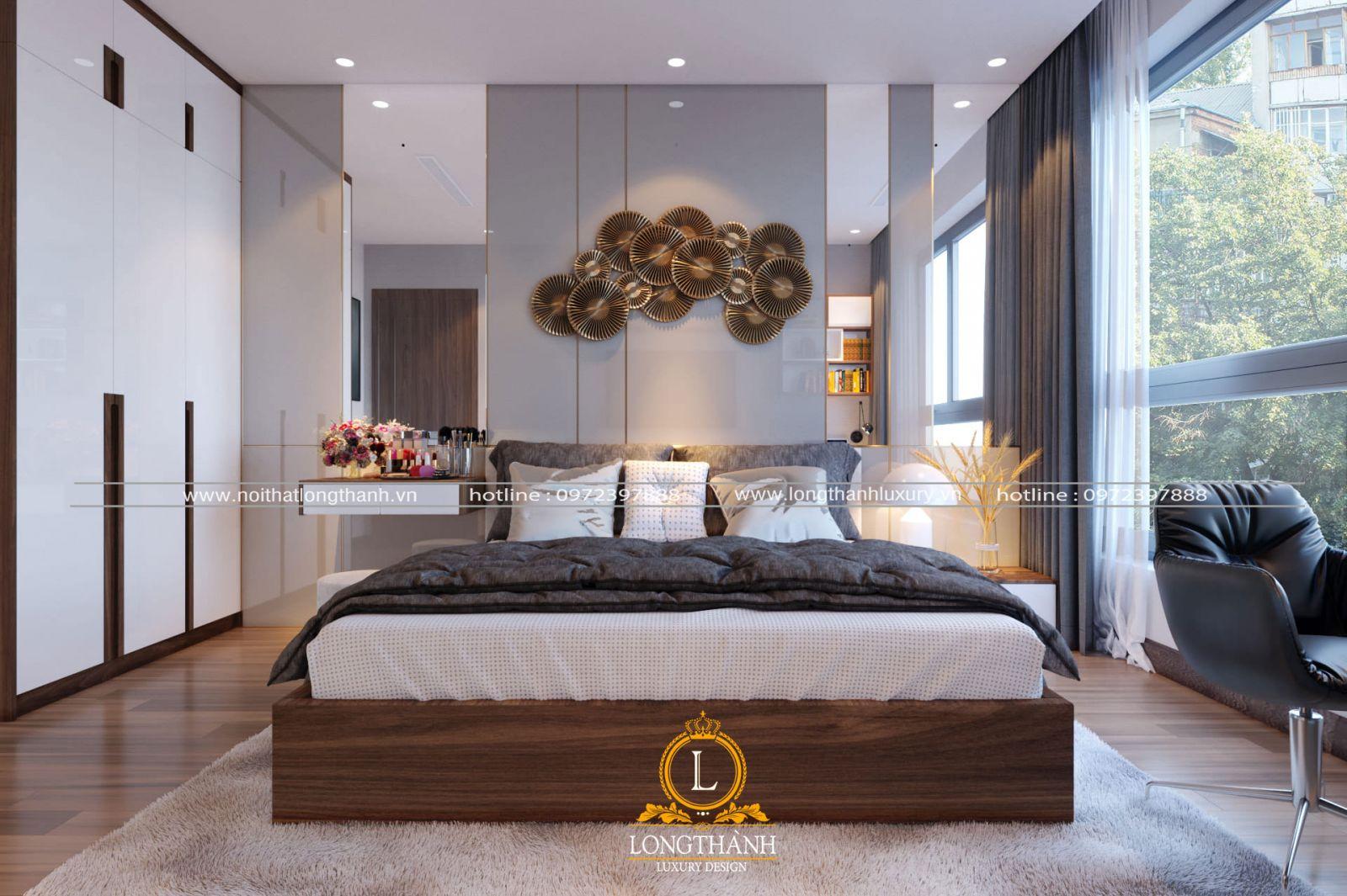 Thiết kế nội thất phòng ngủ biệt thự phố phong cách hiện đại sang chảnh