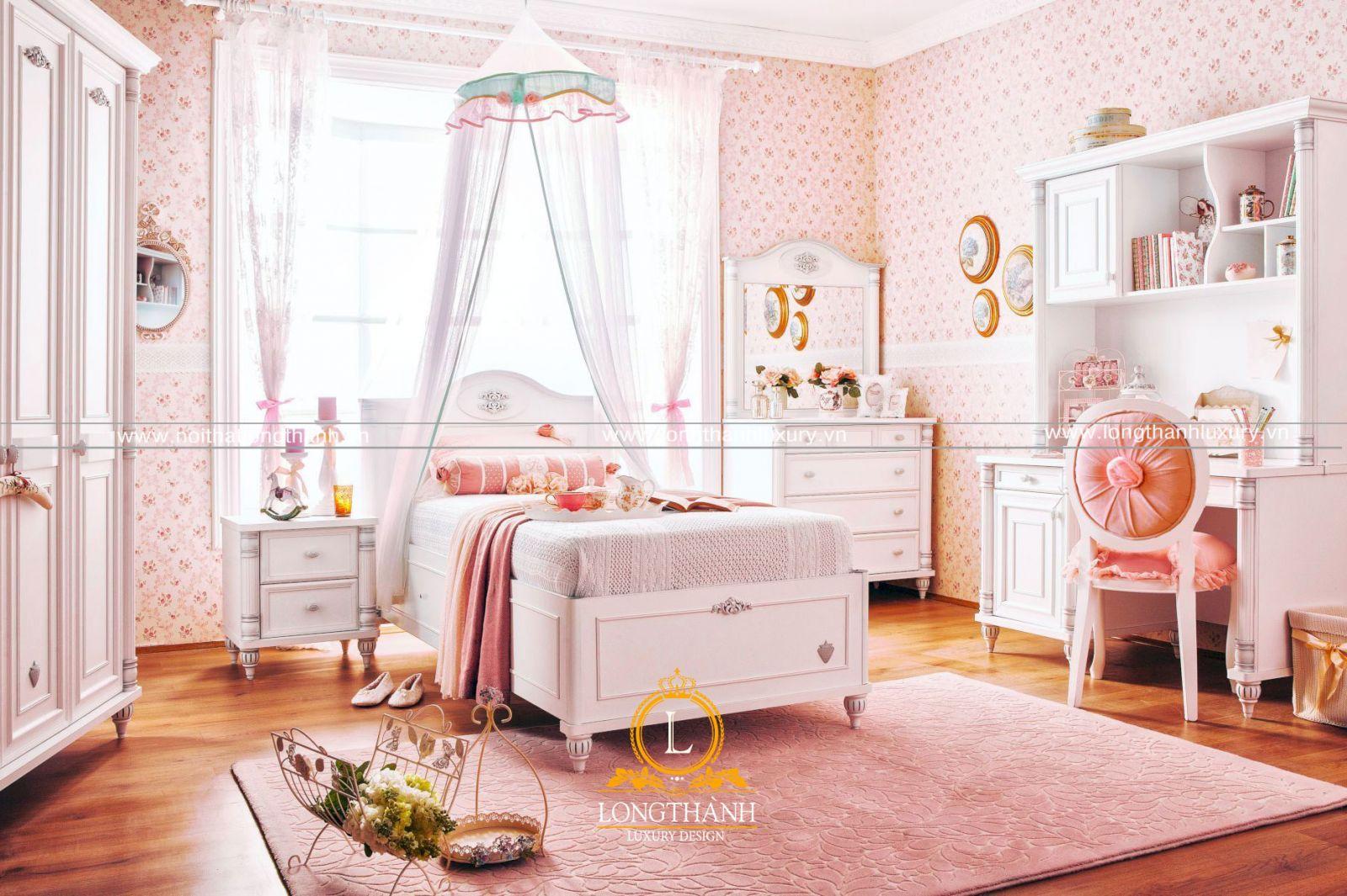 Thiết kế phòng ngủ cho con gái với sắc hồng tuyệt đẹp