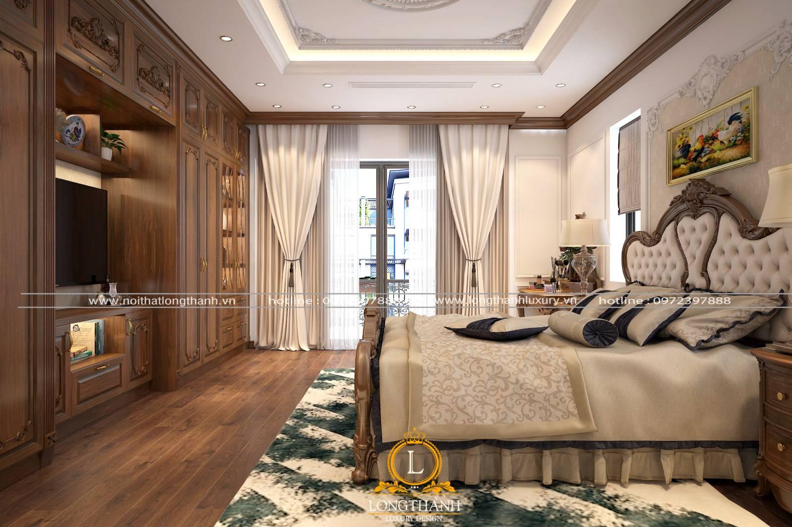 Mẫu phòng ngủ master tân cổ điển cho thiết kế nội thất nhà ống sang trọng tiện nghi