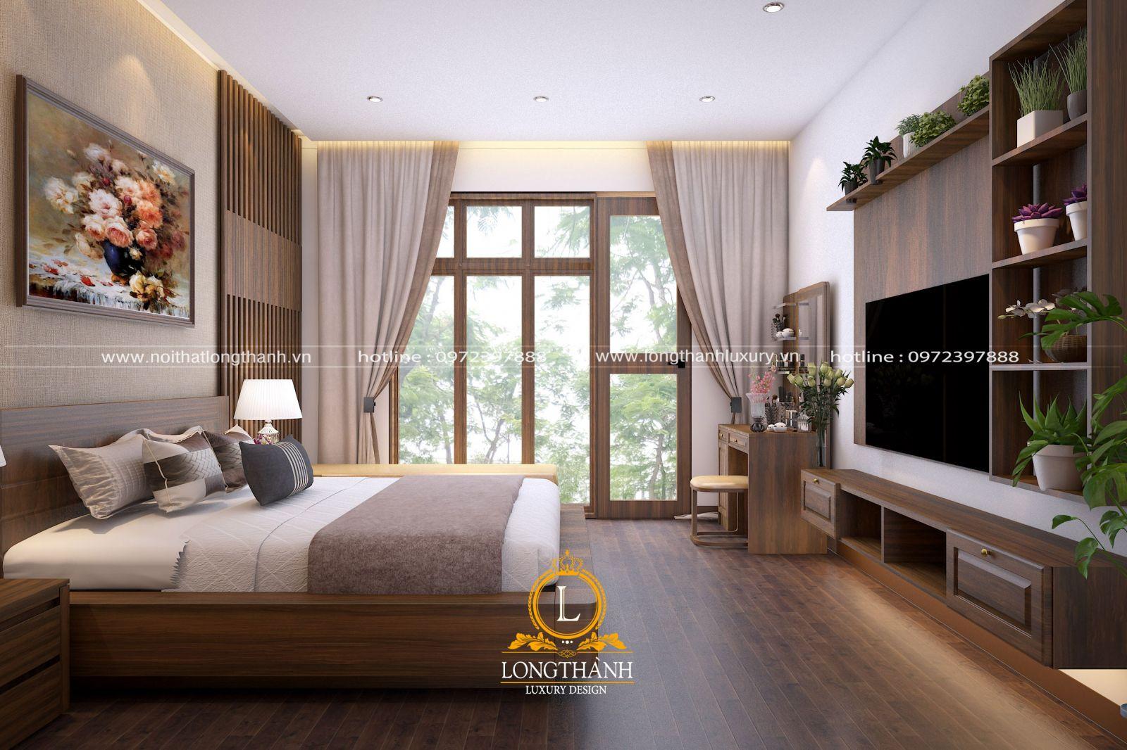 Nội thất được bố trí đơn giản càng làm căn phòng ngủ thêm thông thoáng
