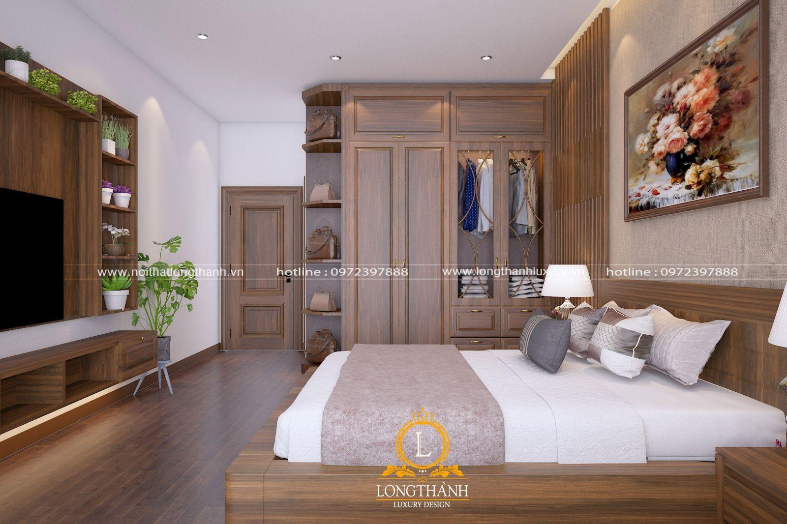 Phòng ngủ đơn giản nhưng cũng đầy đủ tiện nghi