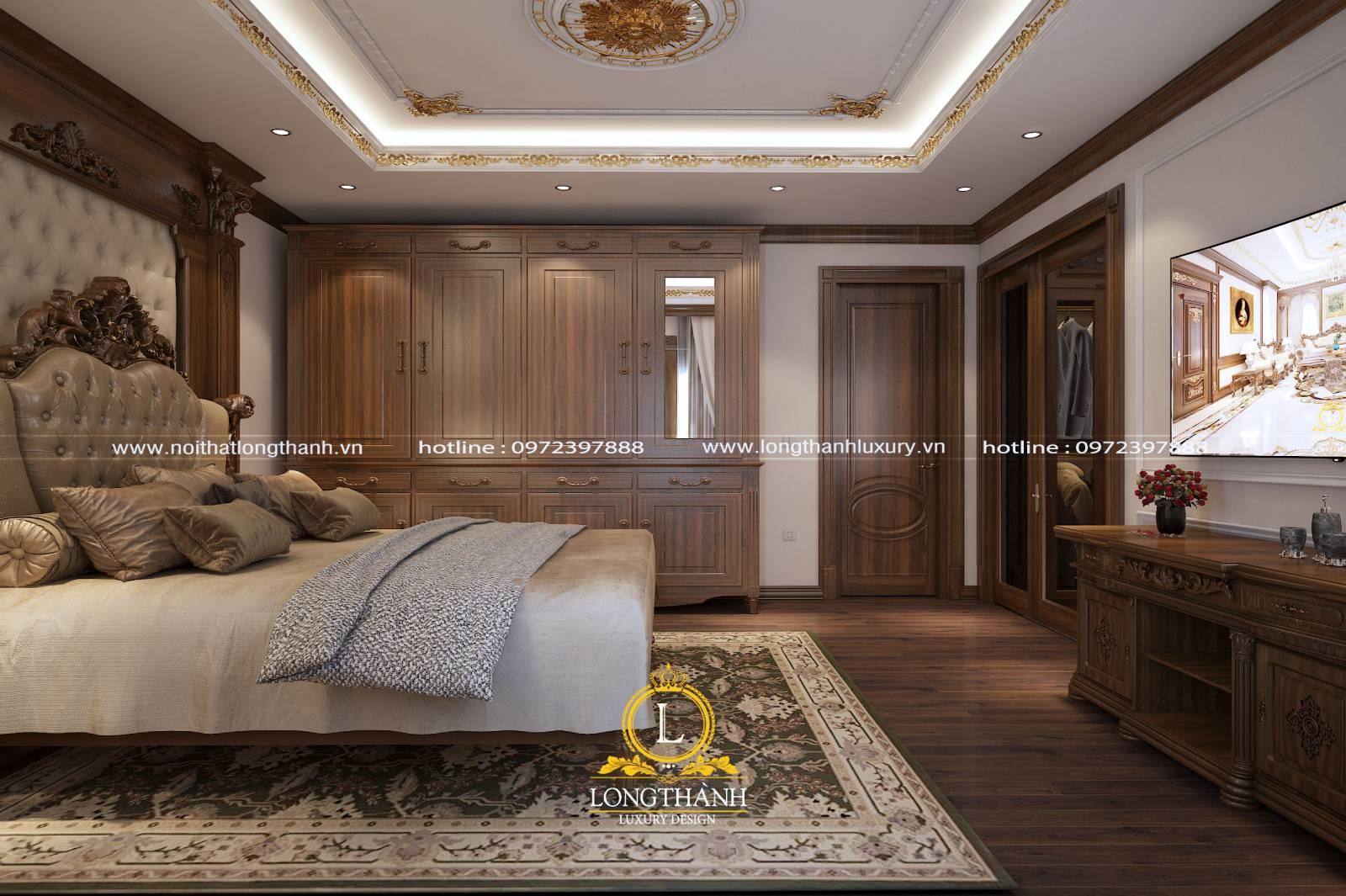 Mẫu tủ quần áo gỗ tự nhiên 4 cánh tân cổ điển cho phòng ngủ rộng
