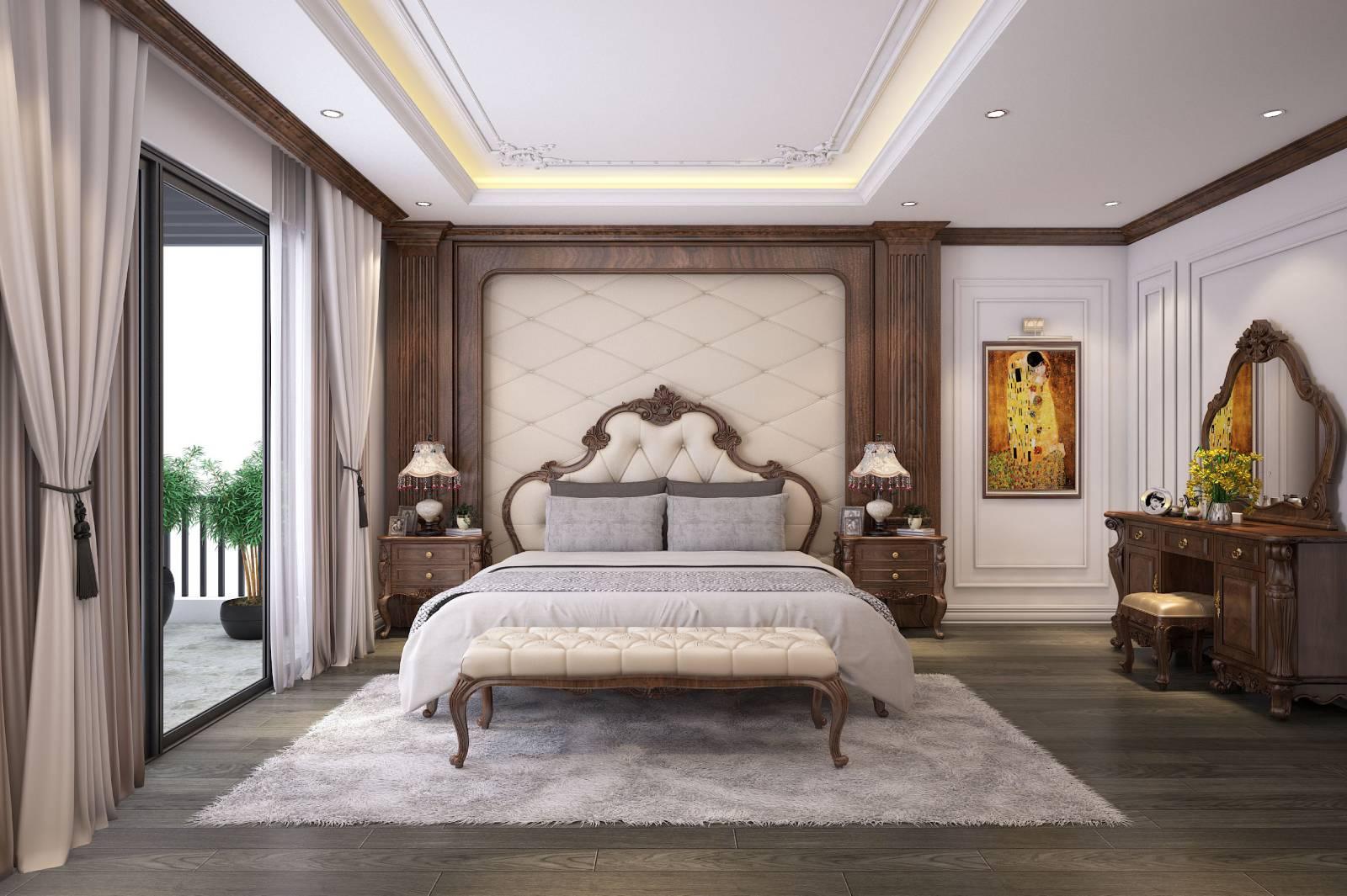 Thiết kế phòng ngủ master tân cổ điển rộng cho cặp vợ chồng