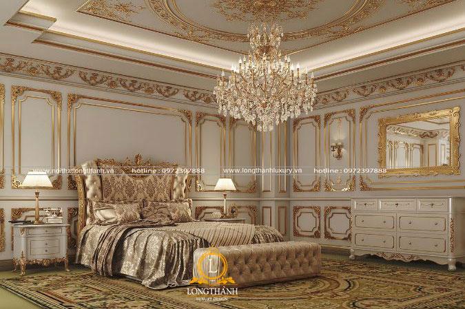 Thiết kế nội thất nhà biệt thư phong ngủ cổ điển cao cấp sang trọng