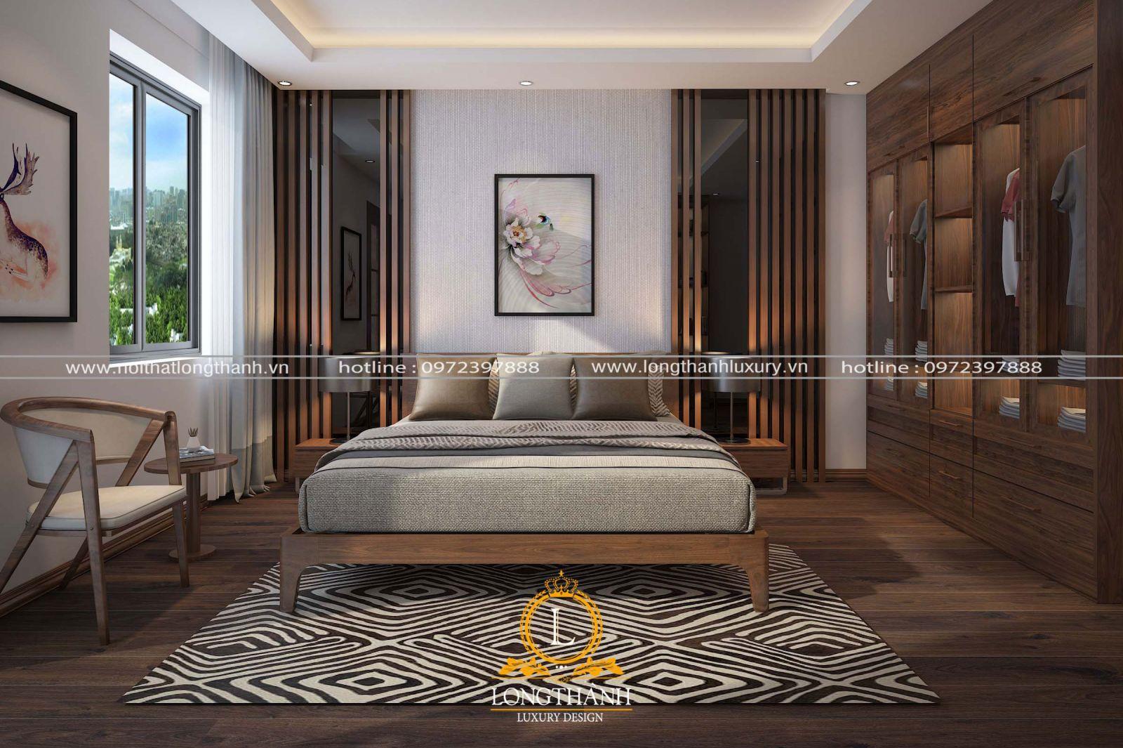 Thiết kế phòng ngủ tân cổ điển đơn giản từ gỗ tự nhiên