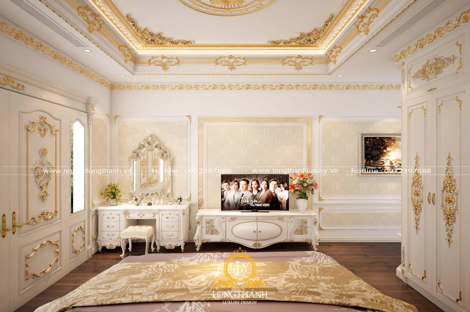 Thiết kế phòng ngủ tân cổ điển lấy gam màu trắng làm màu chủ đạo
