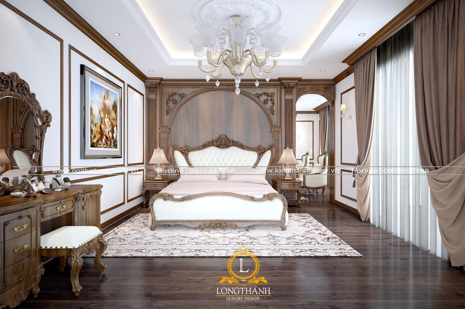Thiết kế giường ngủ tân cổ điển sang trọng tinh tế