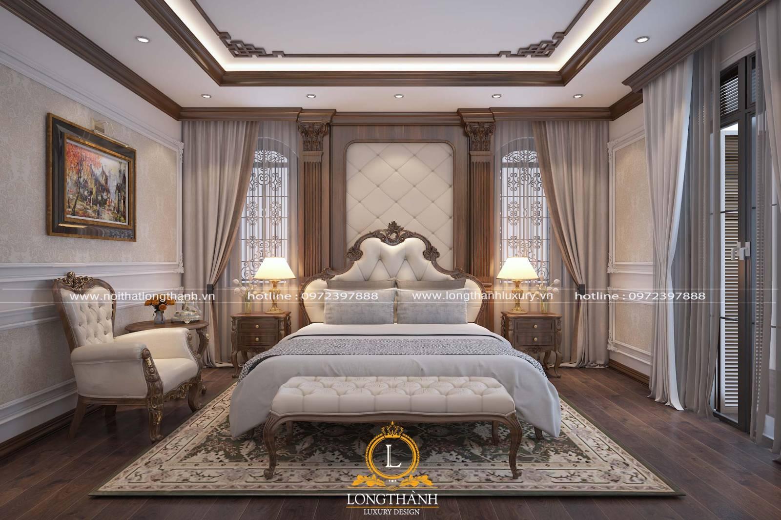 Thiết kế phòng ngủ biệt thự tân cổ điển chất liệu gỗ tự nhiên cao cấp