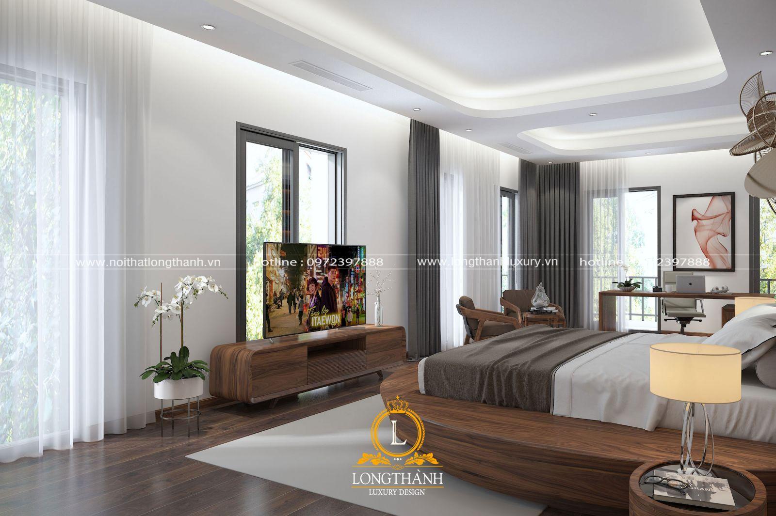 Thiết kế phòng ngủ với nội thất mạnh mẽ