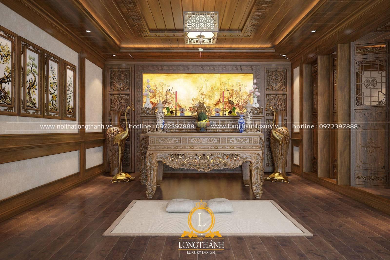 Thiết kế nội thất phòng thờ cổ điển cho biệt thự phố với vẻ đẹp thẩm mỹ cao