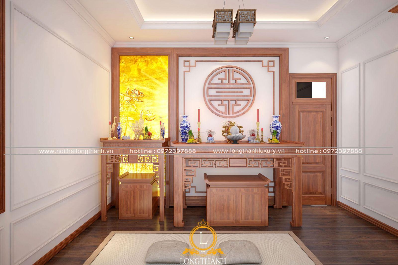 Mẫu phòng thờ gỗ Gõ đỏ tầng 1 cho không gian nhà phố hẹp