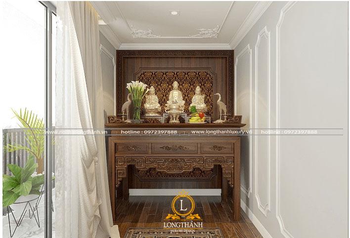 Mẫu thiết kế bàn thờ 3 tượng phật đẹp cho nhà chung cư