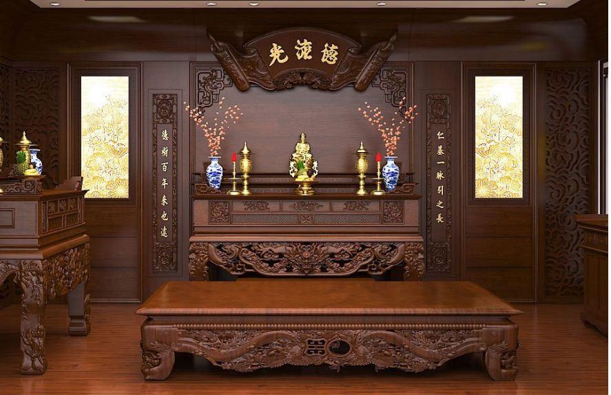 Thiết kế phòng thờ phật tiện nghi hiện đại và phù hợp với phong thủy trong nhà