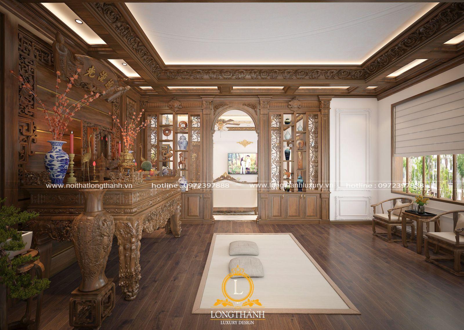 Mẫu thiết kế phòng thờ gỗ Sồi cho cho biệt thự ở không gian tầng 1