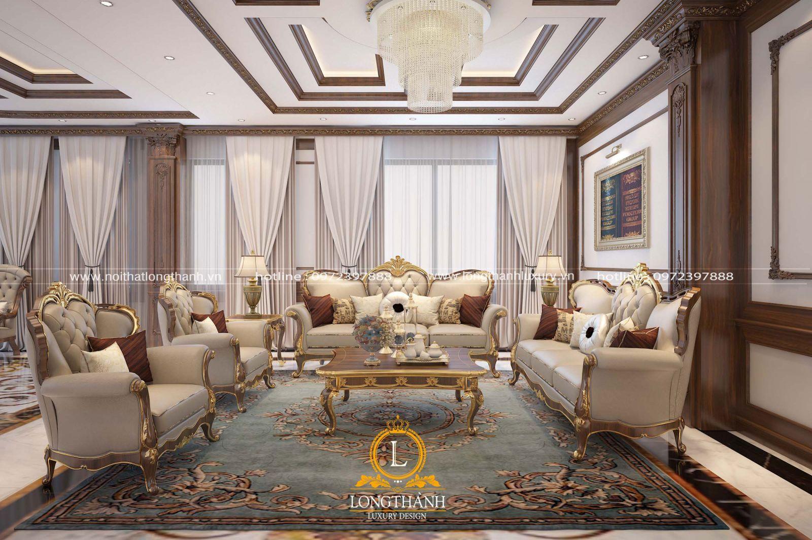 Bộ sofa tân cổ điển được bố trí trung tâm căn phòng khách