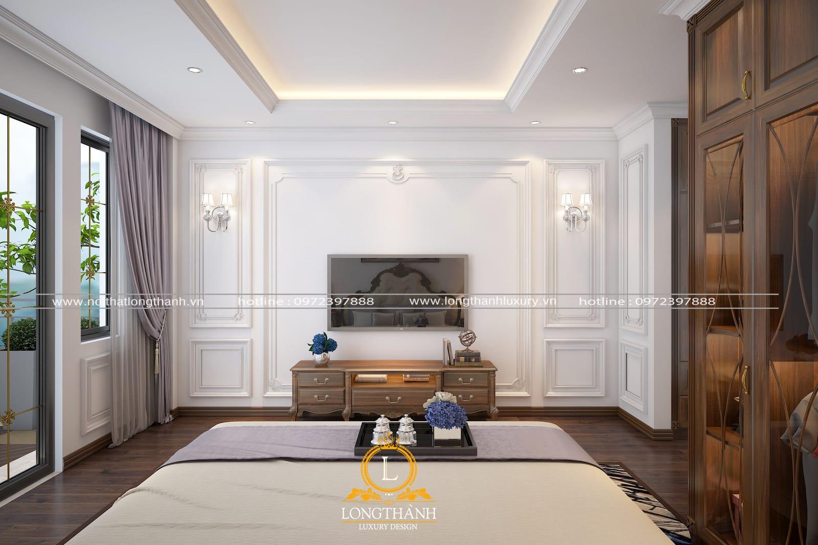 mẫu kệ tivi hiện đại tinh xảo cho phòng ngủ cao cấp