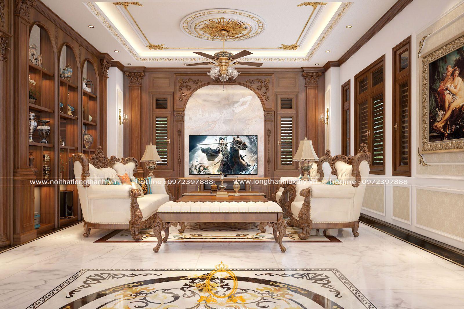 Thiết kế trần nhà tạo sự hài hòa với màu sắc của tường bao xung quanh