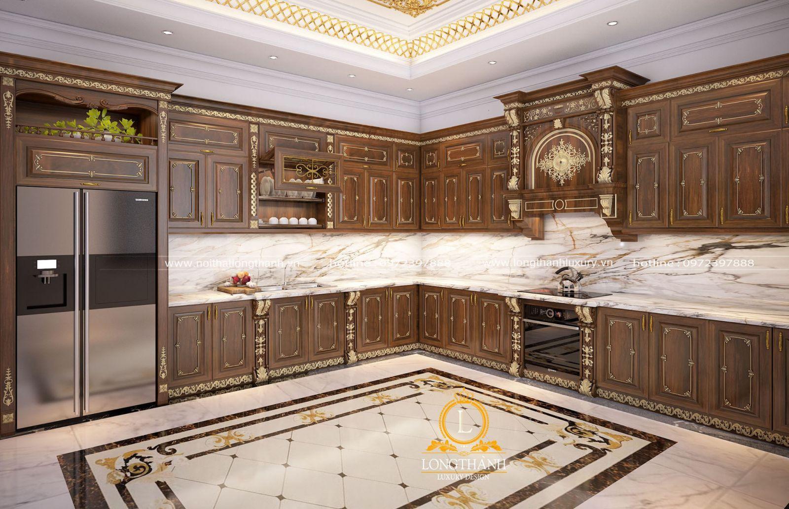 Thiết kế tủ bếp gỗ gõ đỏ tân cổ điển chữ L cho biệt thự rộng