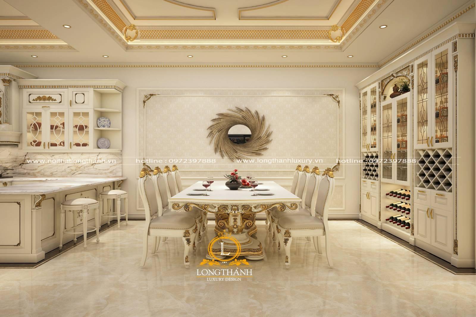 Không gian nhà bếp với màu trắng nhẹ nhàng tin khôi cùng mẫu tủ bếp gỗ Gõ tiện lợi