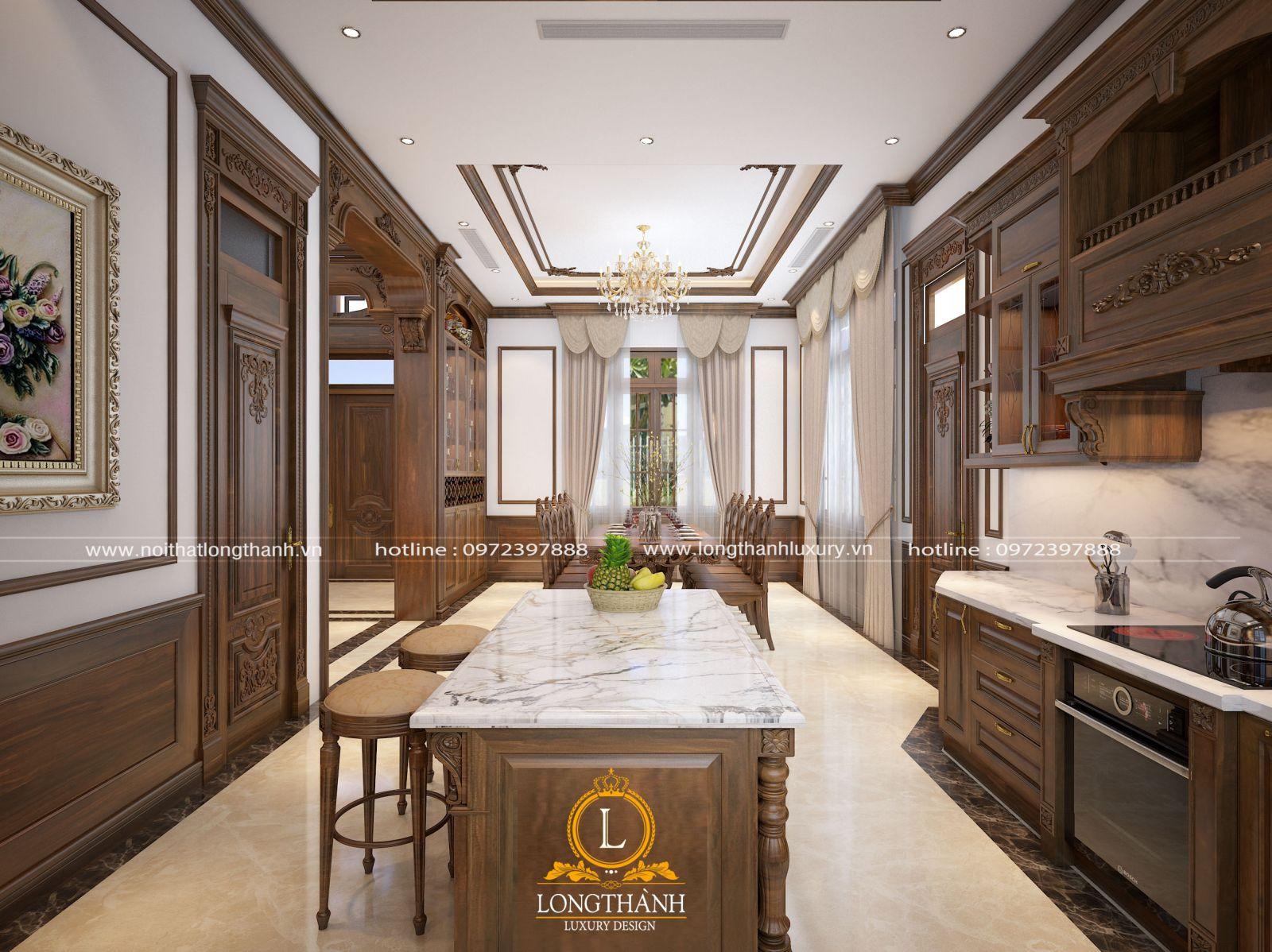 Tủ bếp tân cổ điển gỗ Gõ sơn nâu cho nhà biệt thự rộng với nhiều ưu điểm
