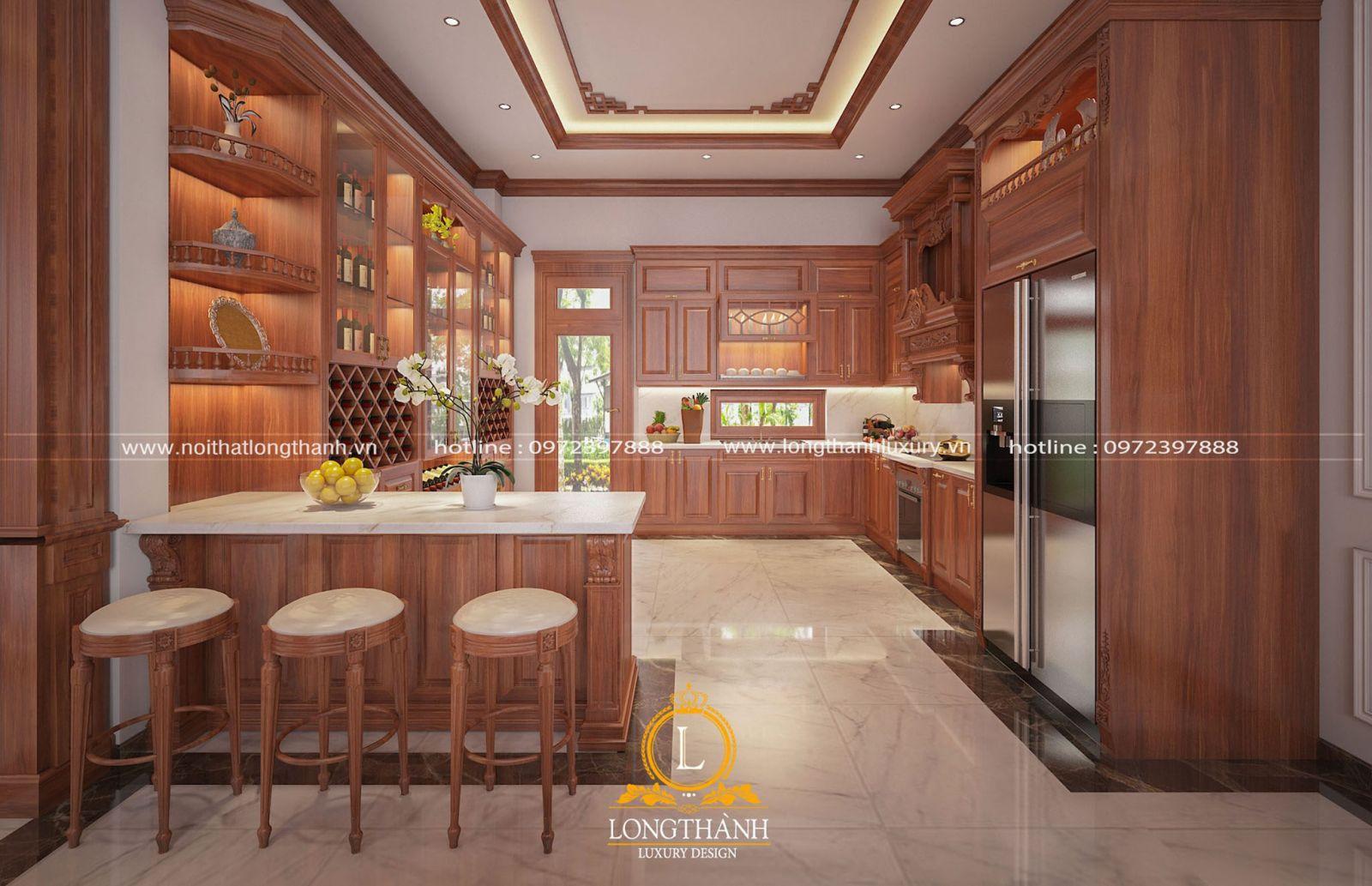 Thiết kế tủ bếp tân cổ điển gỗ Gõ đỏ tiện nghi hiện đại