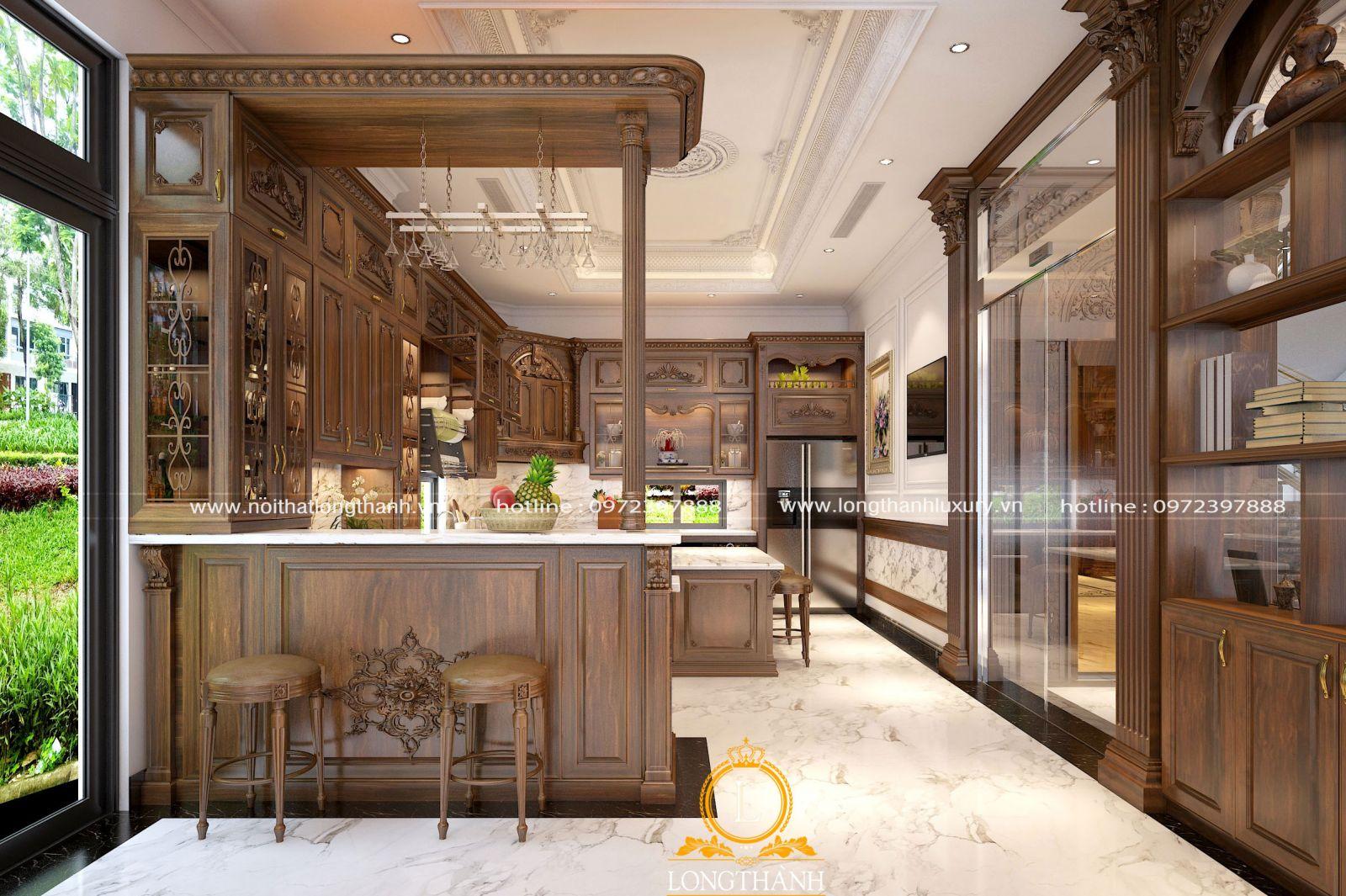 Tủ bếp gỗ tự nhiên kết hợp quầy bar sang trọng luôn là lựa chọn hoàn hảo cho không gian nhà biệt thự
