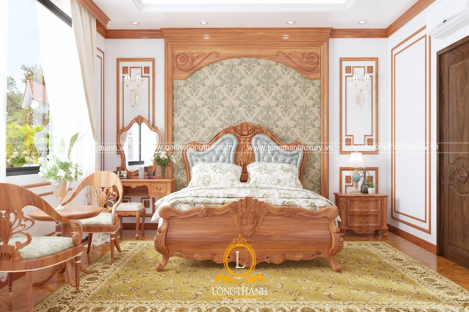 Thiết kế nội thất phòng ngủ cho nhà phố sử dụng chất liệu gỗ tự nhiên