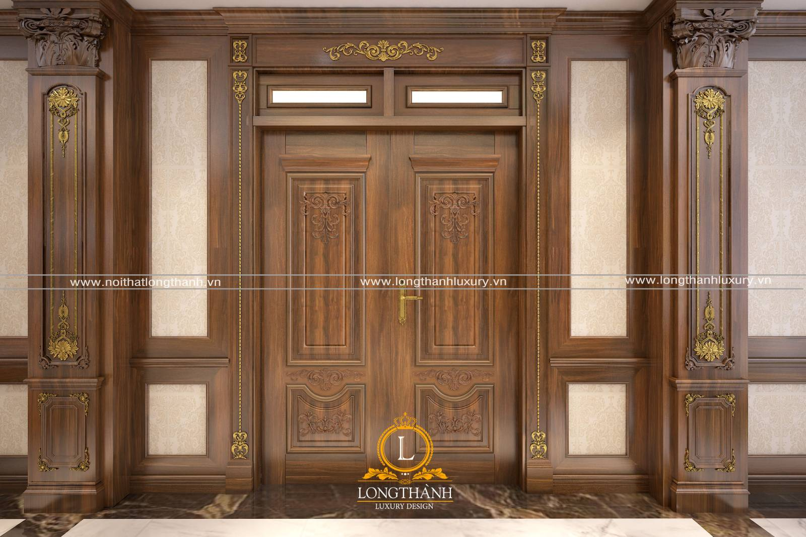 Cửa gỗ gõ đỏ phong cách tân cổ điển cho nhà biệt thự