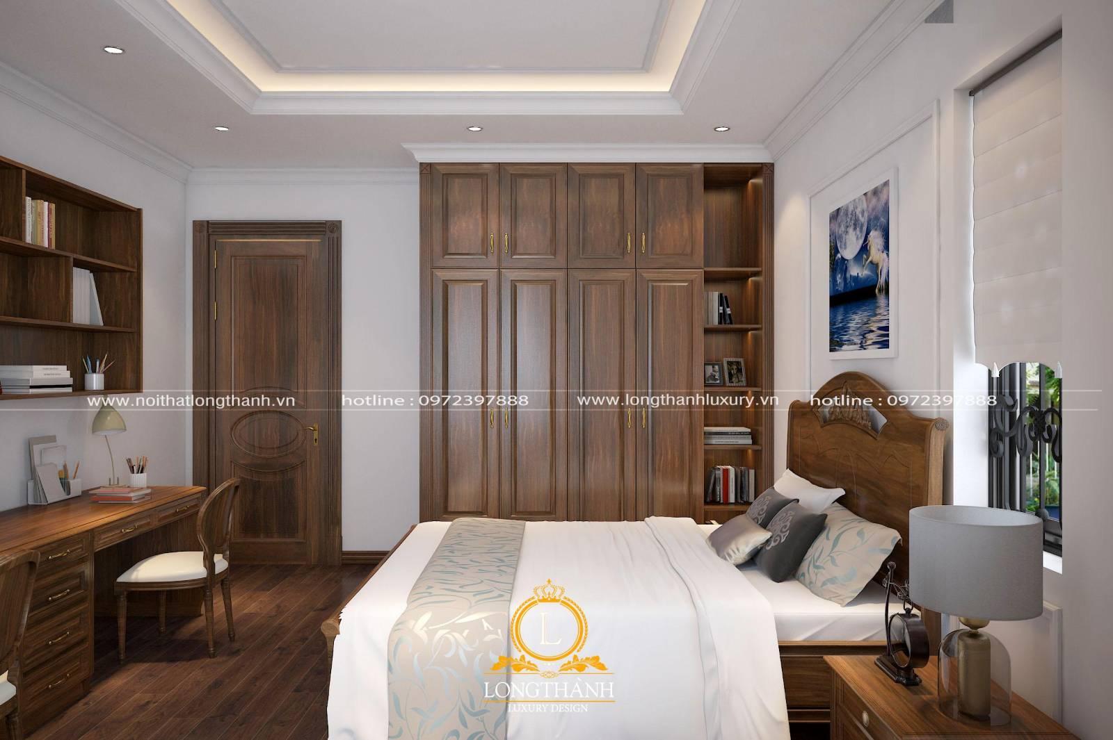 Toàn bộ đồ nội thất phòng ngủ được bày trí hài hòa cân đối với nhau