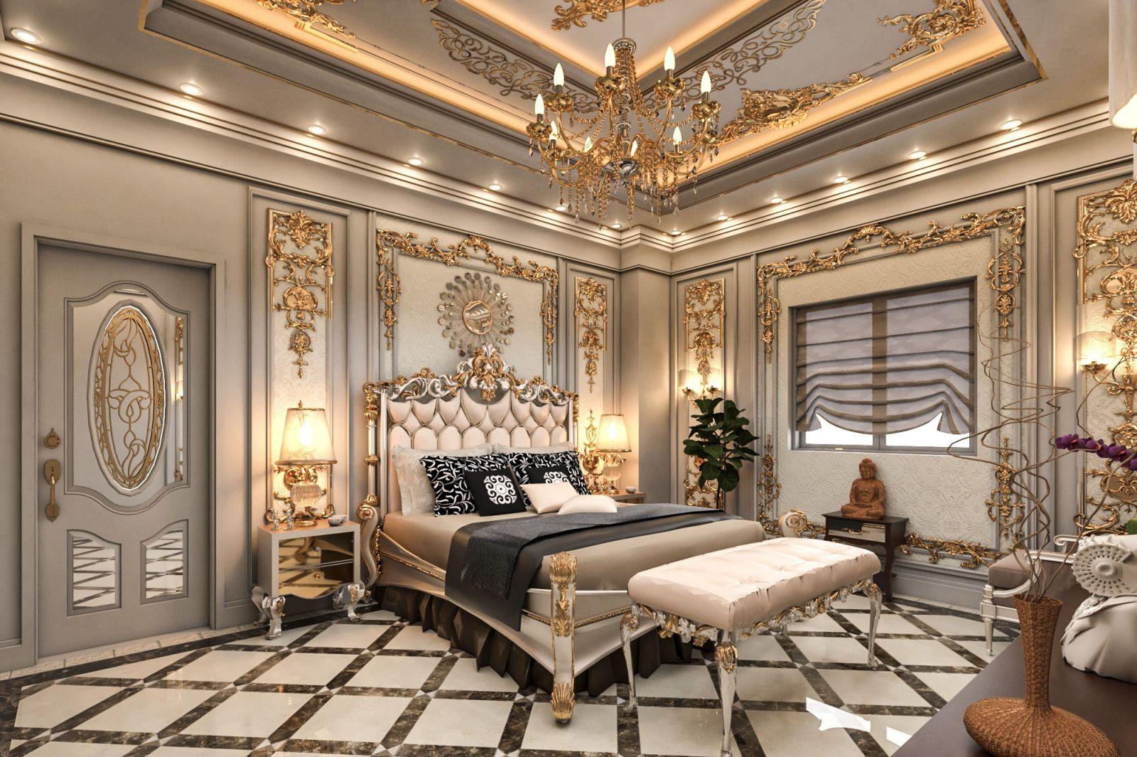 Tone màu trắng làm nền cho nội thất cổ điển phòng ngủ
